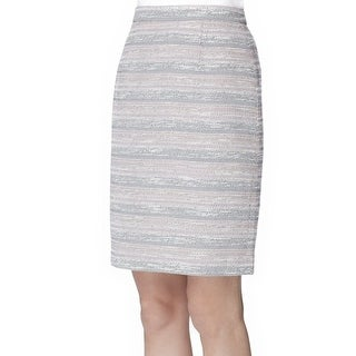 Tahari By ASL NEW Pink Grey Women's 2P Petite Tweed Stripe Pencil Skirt