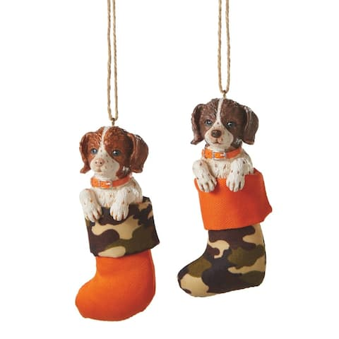 """4.5"""" Red Haired Welsh Springer Spaniel Puppy Dog in Stocking Christmas Ornament - N/A"""