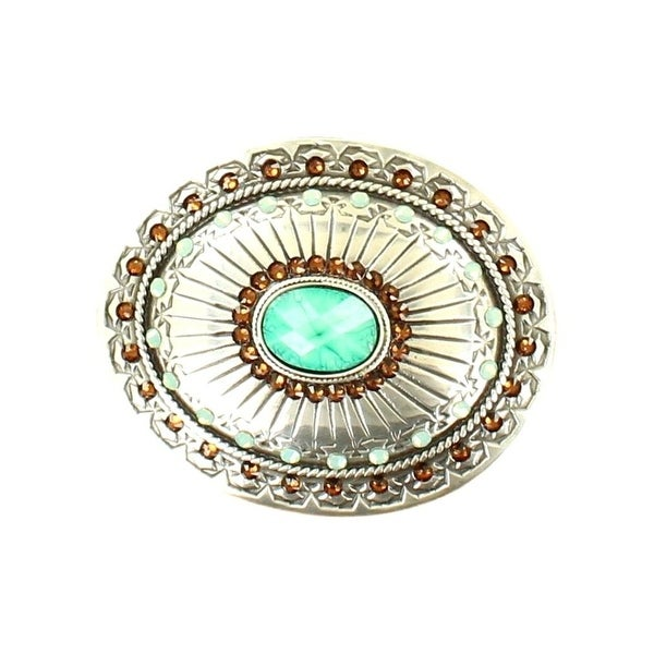 "Nocona Western Belt Buckle Womens Oval Tribal Stones Silver - 3"" x 2 3/4"""