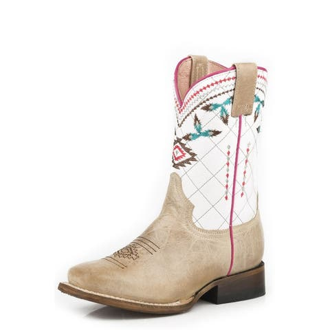 Roper Western Boots Girls Aztec Design Sage Tan