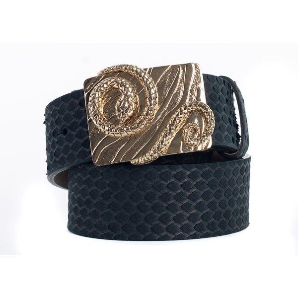 Roberto Cavalli Black Suede Snakeskin Serpent Buckle Belt