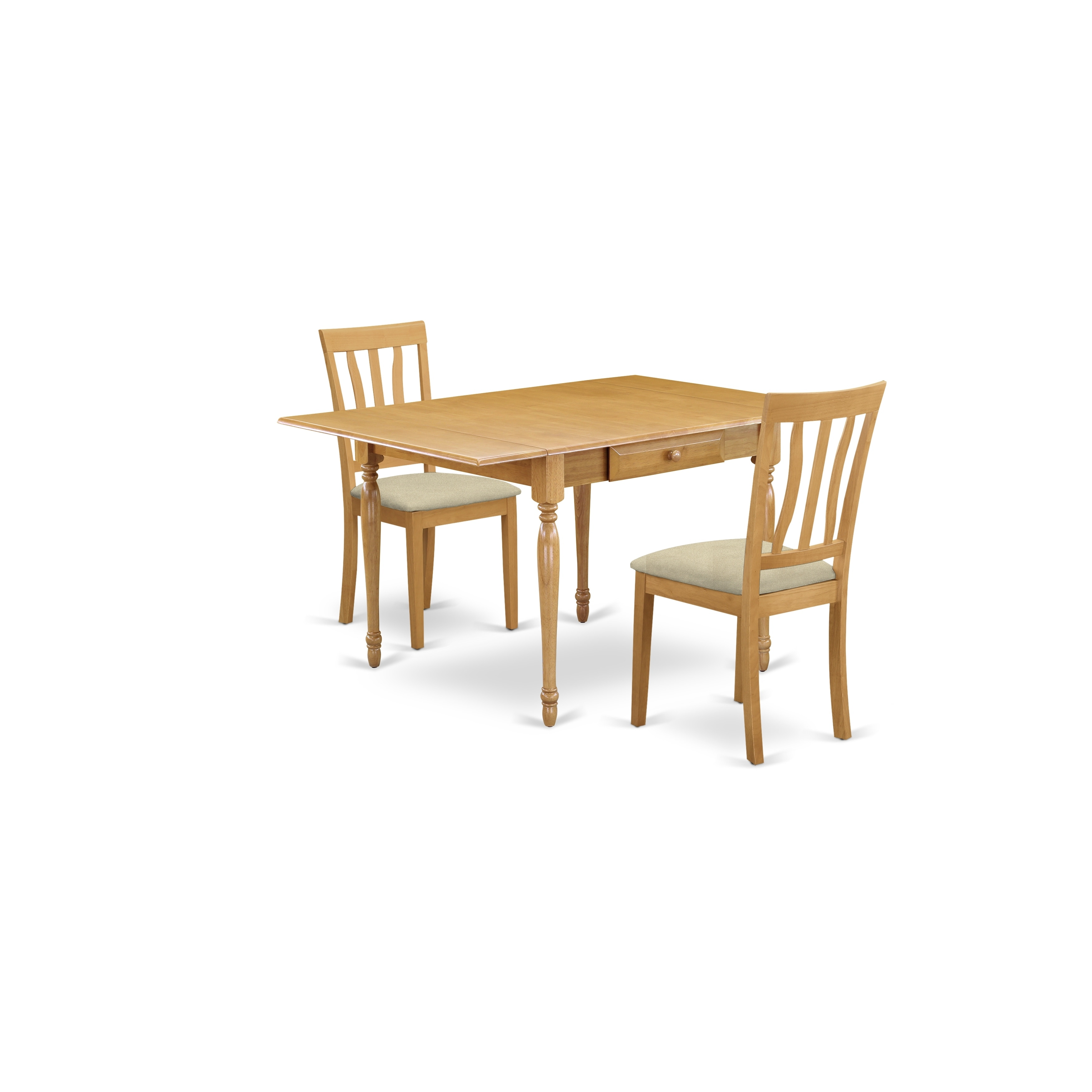 SPARE REPAIR Dining Table and 4 Chairs Set 80CM Round Wood Table Linen Fabric