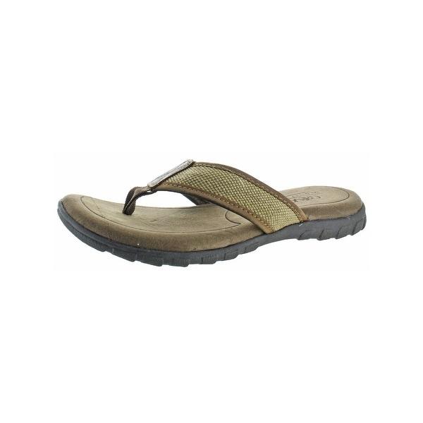 242f6e0023ef Shop Crevo Mens Mocha Flip-Flops Memory Foam Leather Trim - Free ...