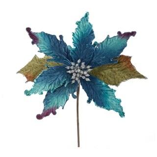 """12 Regal Peacock Beaded Velvet Artificial Poinsettia Flower Christmas Picks 8"""""""
