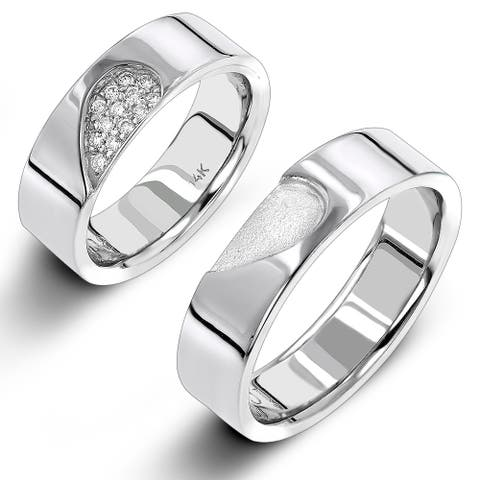 Two Tone Round Diamond Men's and Women's Wedding Bands Set 0.25ctw in 14k Gold by Luxurman