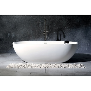 Link to Modern 70-inch Solid Surface White Stone Freestanding Oval Bathtub Similar Items in Bathtubs