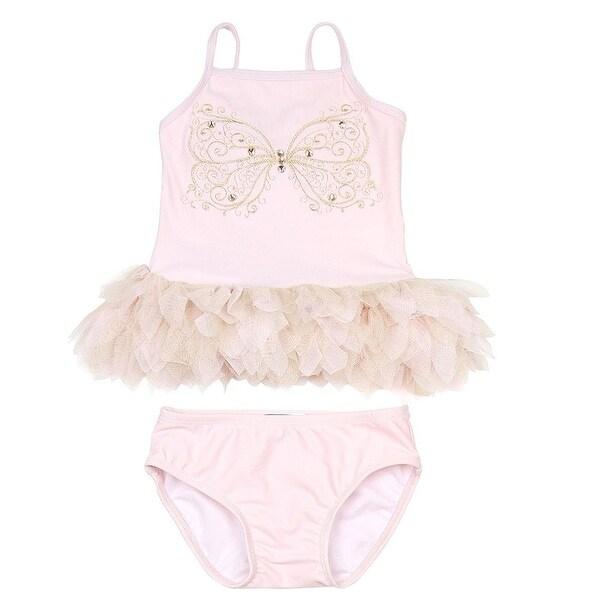 Kate Mack Baby Girls Pink Butterfly Multi Ruffle 2 Pc Tankini Swimsuit 9M - 6-9 months