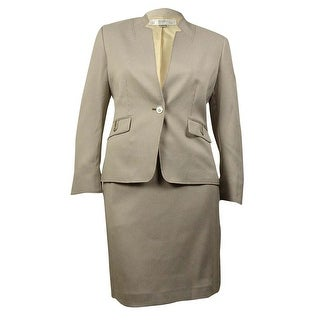 Tahari Women's Notched Collar Houndstooth Woven Skirt Suit - Beige/White