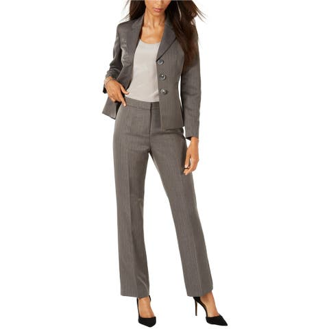 Le Suit Womens Peak Lapel Three Button Blazer Jacket, Grey, 12