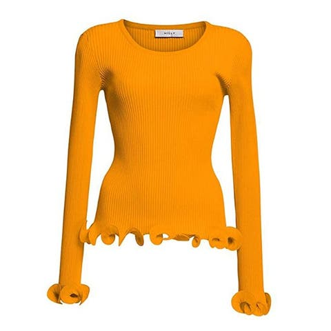 MILLY Womens Tangerine Wired Edge Ribbed Knit Pullover Sweater