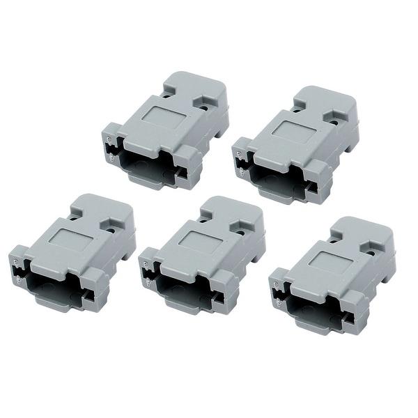 5 Pcs Plastic Serial Port D-Sub DB9 Connector Kit Backshell Gray w Screws