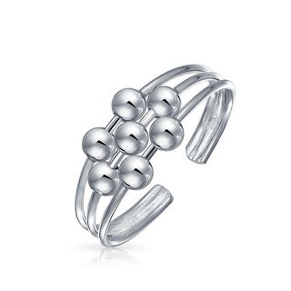 Bling Jewelry 3 Row Wire 7 Bead Toe Ring Adjustable 924 Silver Midi Rings