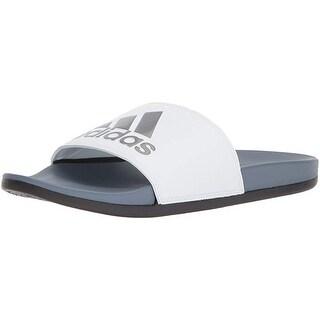 Adidas Men's Adilette Cf+ Logo Slide Sandal, Raw Steel/White/Core Black, 11 M Us