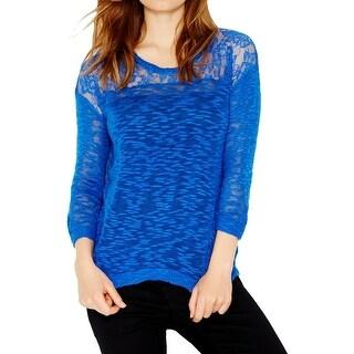 Kensie Womens Pullover Sweater Slub Lace Inset