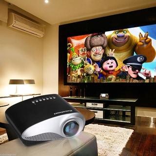 LED LCD Portable Mini Multimedia Projector AV USB VGA SD Home Theater HDMI Cable - Black