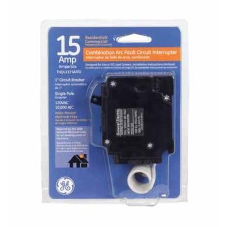 GE THQL1115AFP2 Single Pole Combination Arc Fault Circuit Interrupter, 15 Amp