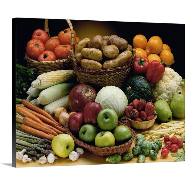 """""""Close-up of various fruits and vegetables"""" Canvas Wall Art"""