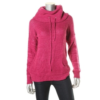 Planet Gold Womens Funnel Neck Waffle Knit Pullover Sweater