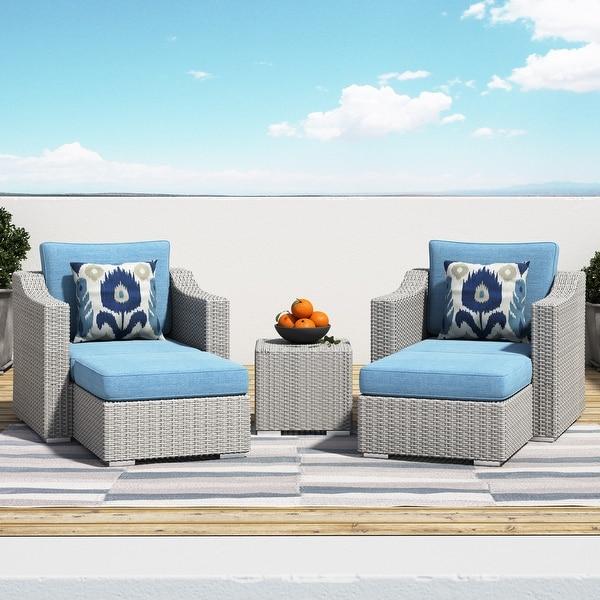 Corvus Martinka Outdoor 5-piece Grey Wicker Furniture Set. Opens flyout.