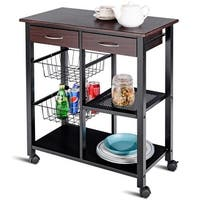 Costway Rolling Kitchen Trolley Cart Storage Island Utility Dining w/Drawer Basket Shelf