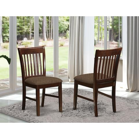 """Norfolk Mahogany Slat Back Country Dining Chairs (Set of 2) - 18""""l x 17""""w x 36""""h"""