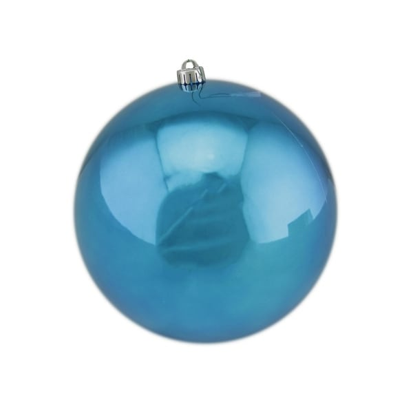 "Shiny Turquoise UV Resistant Commercial Drilled Shatterproof Christmas Ball Ornament 10"" (250mm) - BLue"