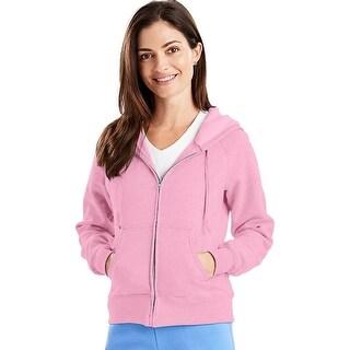 Hanes EcoSmart® Cotton-Rich Full-Zip Hoodie Women's Sweatshirt - Size - S - Color - Pale Pink