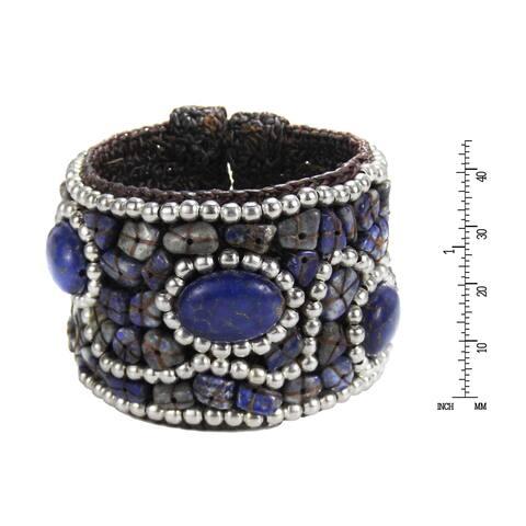 Handmade Cotton Rope Stone Brass Cuff Bracelet (Thailand)