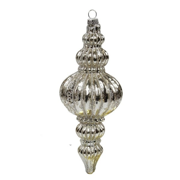 "7"" Silent Luxury Crackled Glass Finial with Glitter Accent Christmas Ornament - CLEAR"