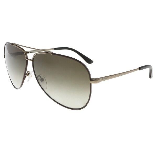 646578f23477 Salvatore Ferragamo SF131S 211 Shiny Brown W/ Dark Brown Aviator Sunglasses  - 60-10