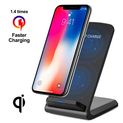 Qi Wireless Fast Charger Charging Pad Stand Dock Samsung Galaxy S8+ iPhone X 8color Black