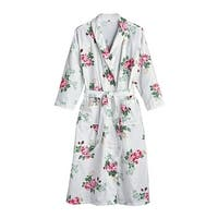 La Cera Women's Rose Print Flannel Robe - 3/4-Length Sleeve White Floral Kimono