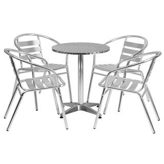 """Offex 23.5"""" Round Aluminum Indoor-Outdoor Table With 4 Slat Back Chairs"""
