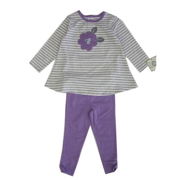 Little Me Baby Girls Purple Grey Stripe Floral Applique Legging Set 24M