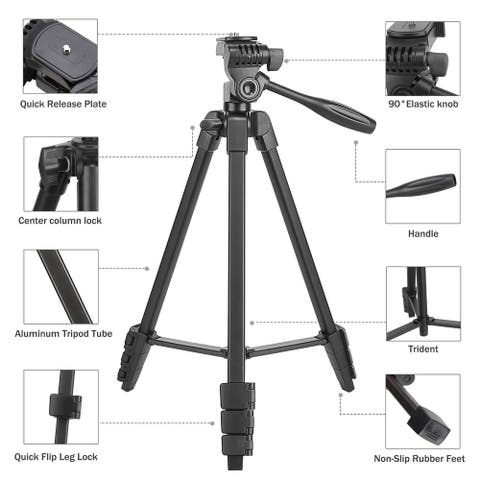 Portable Tripod with Phone Clip and Bluetooth Remote Black
