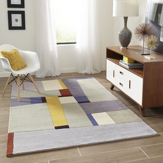 Momeni New Wave Grey Hand-Tufted and Hand-Carved Wool Rug (2' X 3') - 2' x 3'