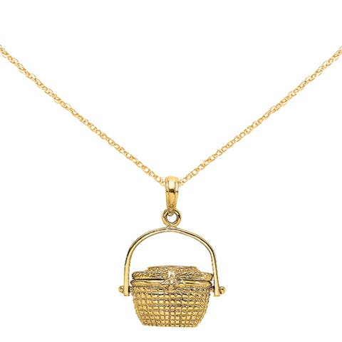 14K Yellow Gold 3-D Nantucket Basket Charm with 18-inch Cable Rope Chain by Versil