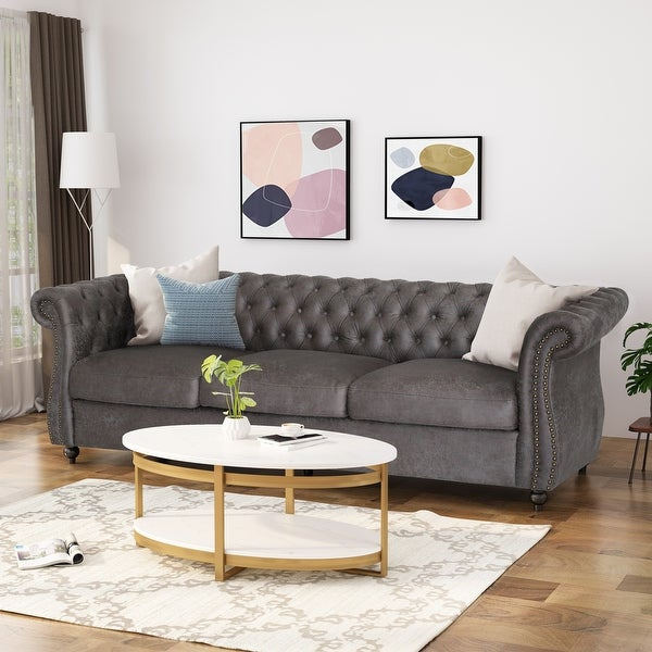 Somerville Chesterfield Tufted Microfiber Sofa with Scroll Arms by Christopher Knight Home. Opens flyout.