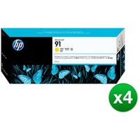 HP 91 775-ml Yellow DesignJet Pigment Ink Cartridge (C9469A) (4-Pack)