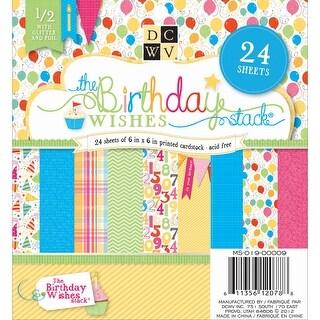 "Dcwv Cardstock Stack 6""X6"" 24/Pkg-Birthday Wish, 12 Designs/2 Each"