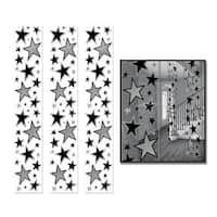 Pack of 36 Black and Silver Star Party Panel Decorations 6'