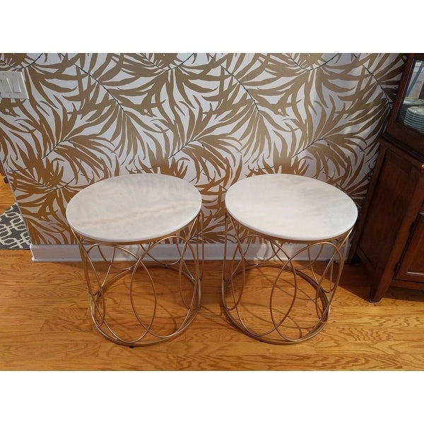 Shop Lynn Round Gold End Table With Marble Top By INSPIRE Q Bold   Free  Shipping Today   Overstock.com   17983082