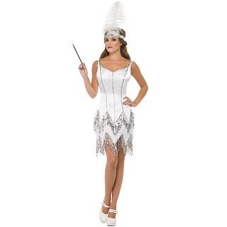 Smiffy Fever Flapper Dazzle Adult Costume - White