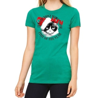 47d15f3e Shop Grumpy Cat Grumpy Meh Women's Kelly Green Funny T-shirt - On Sale -  Free Shipping On Orders Over $45 - Overstock - 17849283