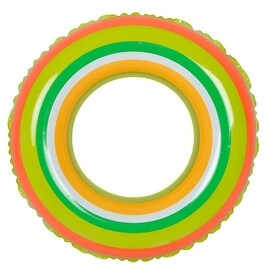 "35"" Green and Orange Stripe Inflatable Swimming Pool Inner Tube Ring Float"