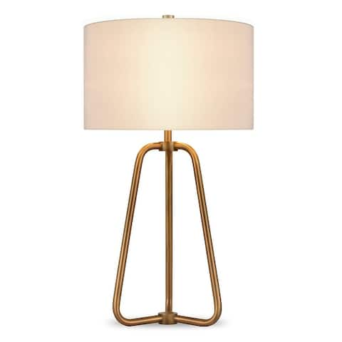 Bryan Table Lamp in Golden Antique Brass Finish with Linen Shade