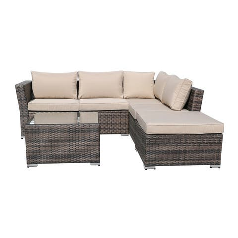 Moda Outdoor 4-Piece KD PE Rattan Sofa Set