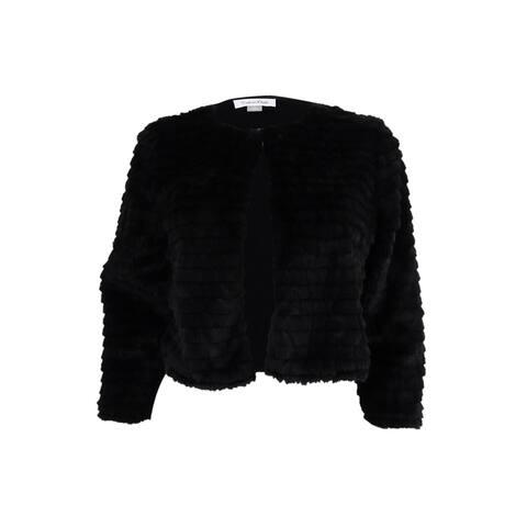 Calvin Klein Women's Petite Faux-Fur Cardigan (PS, Black) - Black - PS
