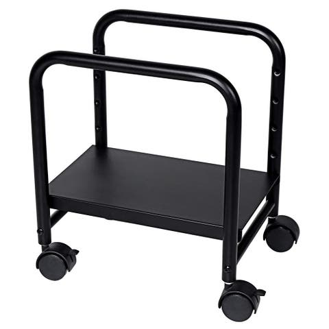 Offex Steel Height Adjustable Computer CPU Mobile Rolling Stand Cart Holder - Black