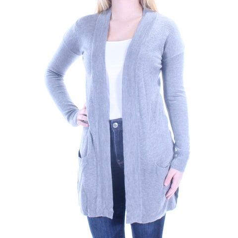 Womens Gray Long Sleeve Open Cardigan Casual Sweater Size S